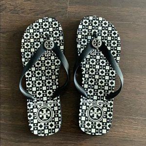 Tory Burch printed flip flops